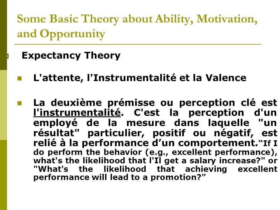 Expectancy Theory L'attente, l'Instrumentalité et la Valence La deuxième prémisse ou perception clé est l'instrumentalité. C'est la perception d'un em