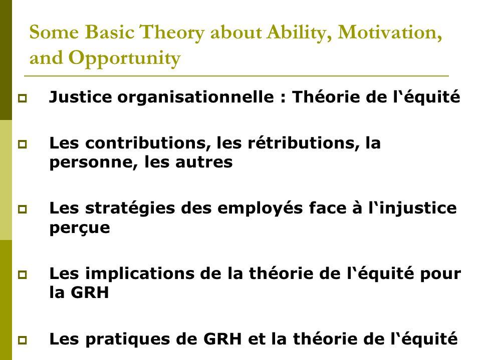Justice organisationnelle : Théorie de léquité Les contributions, les rétributions, la personne, les autres Les stratégies des employés face à linjust