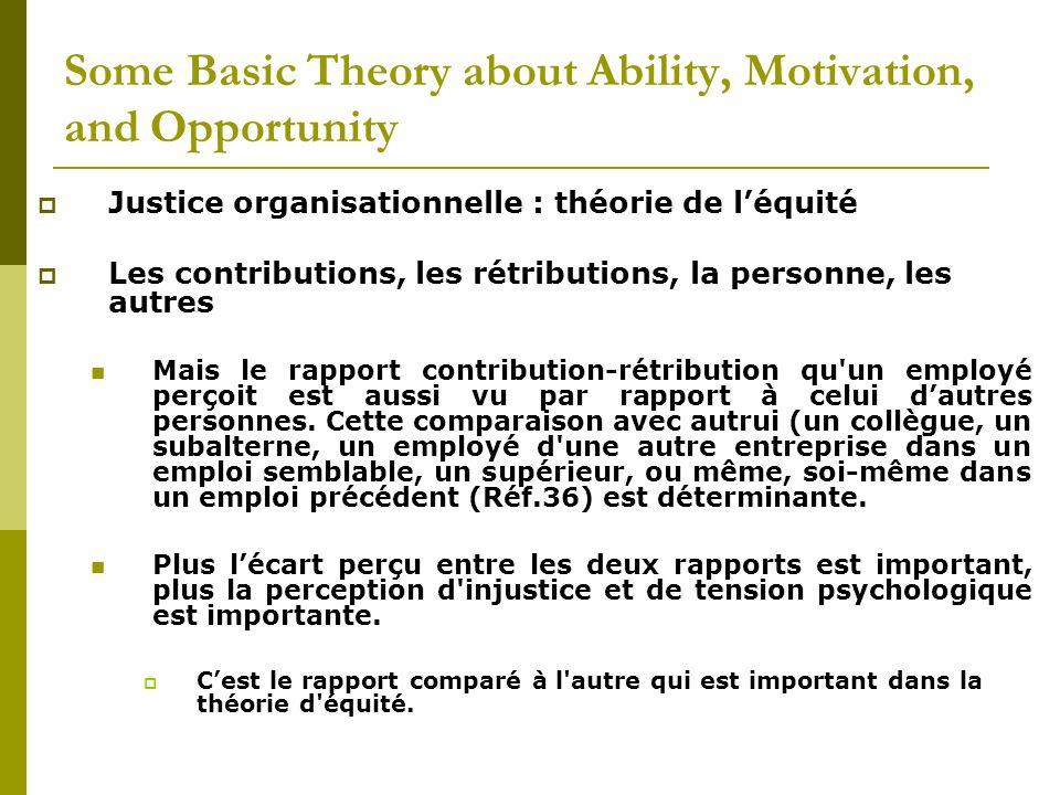 Justice organisationnelle : théorie de léquité Les contributions, les rétributions, la personne, les autres Mais le rapport contribution-rétribution q