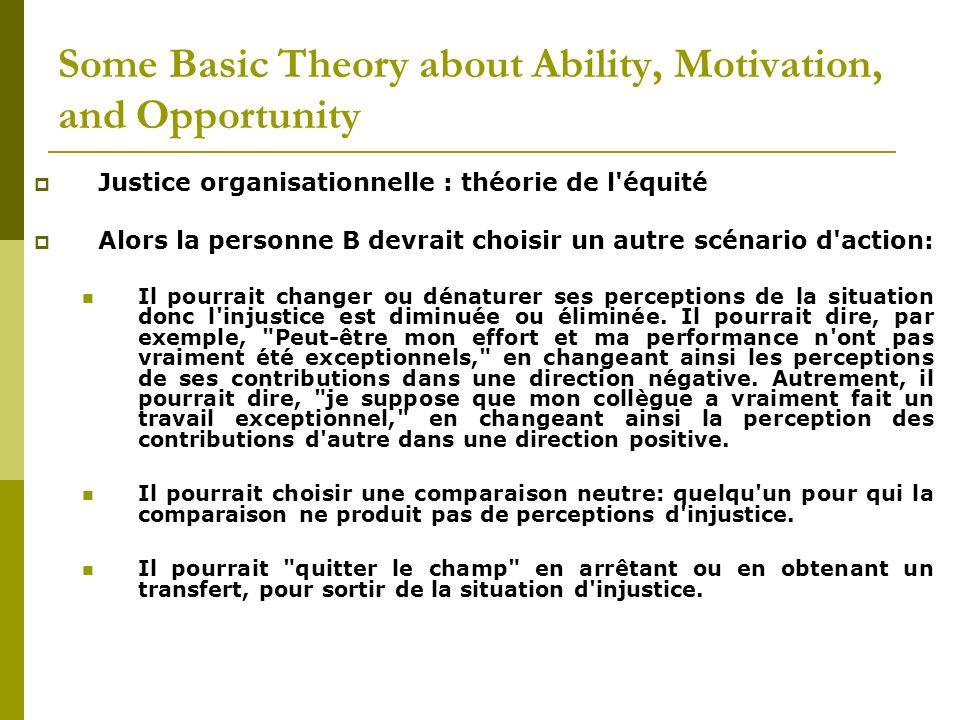 Justice organisationnelle : théorie de l'équité Alors la personne B devrait choisir un autre scénario d'action: Il pourrait changer ou dénaturer ses p