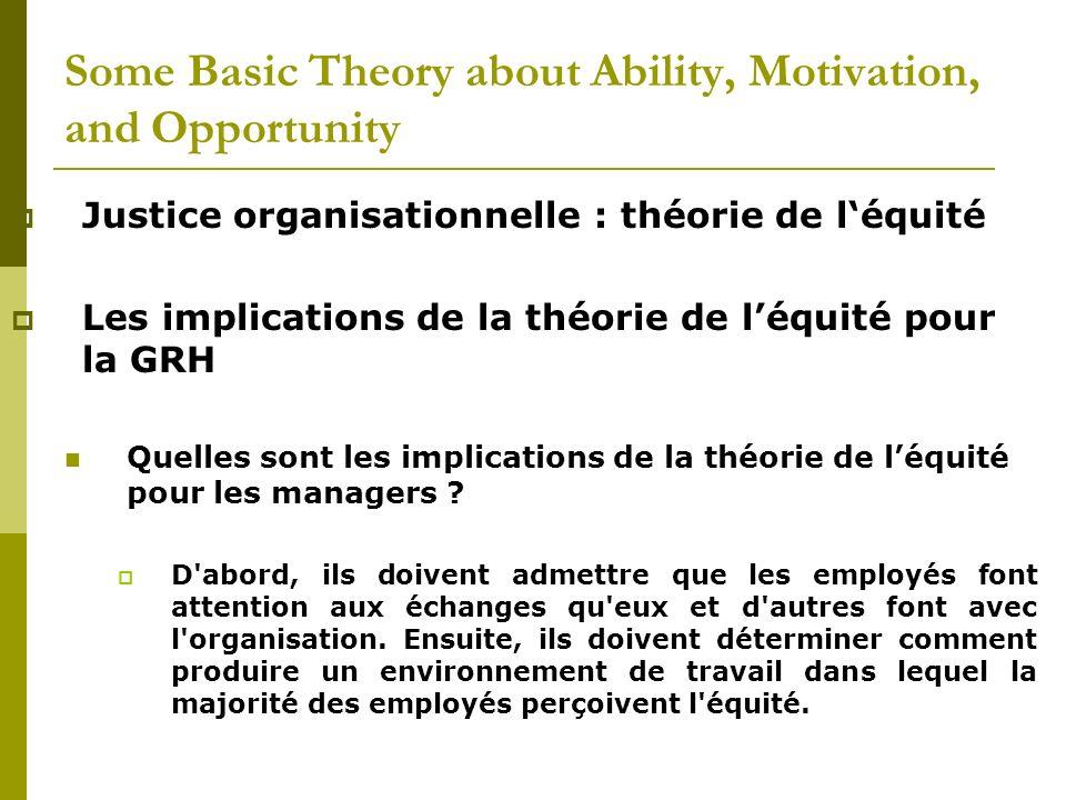 Justice organisationnelle : théorie de léquité Les implications de la théorie de léquité pour la GRH Quelles sont les implications de la théorie de lé