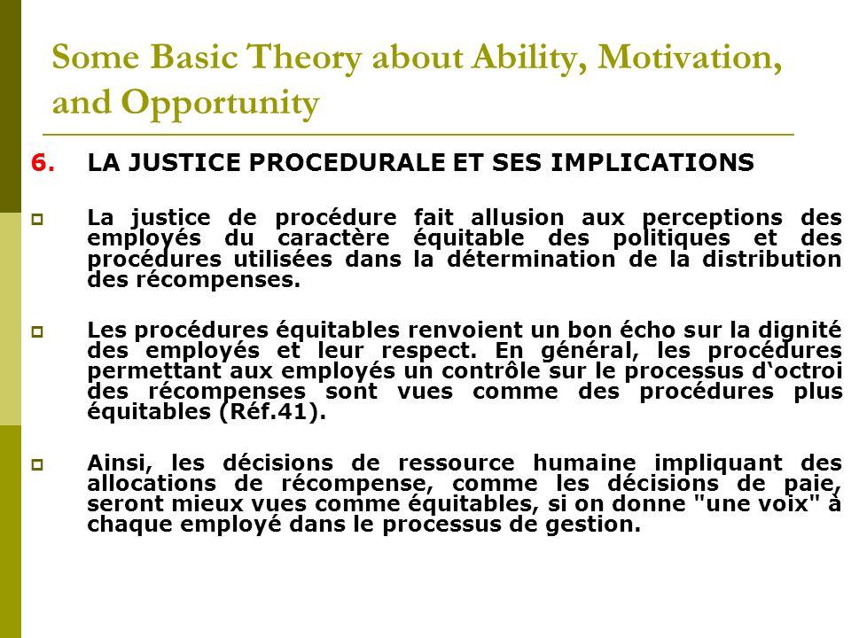 6.LA JUSTICE PROCEDURALE ET SES IMPLICATIONS La justice de procédure fait allusion aux perceptions des employés du caractère équitable des politiques