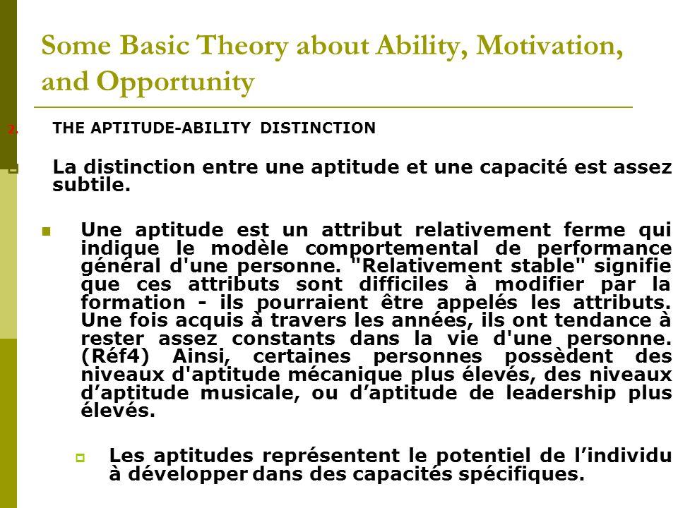 2. THE APTITUDE-ABILITY DISTINCTION La distinction entre une aptitude et une capacité est assez subtile. Une aptitude est un attribut relativement fer
