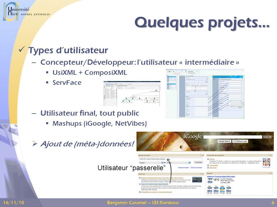 Quelques projets… Types dutilisateur – Concepteur/Développeur: lutilisateur « intermédiaire » UsiXML + ComposiXML ServFace – Utilisateur final, tout public Mashups (iGoogle, NetVibes) Ajout de (méta-)données.