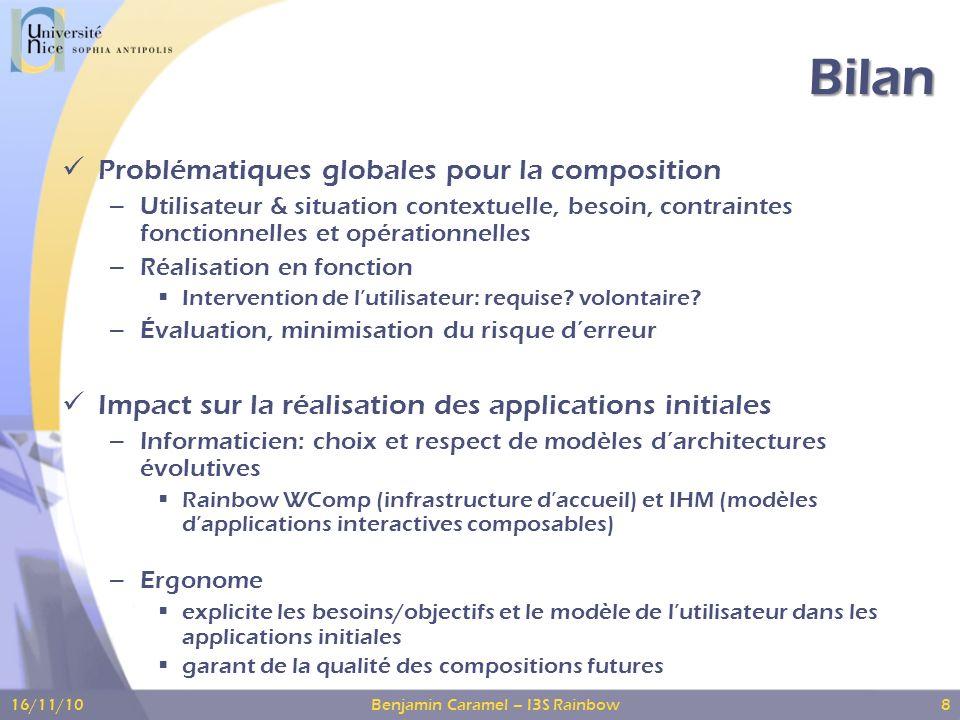 Bilan Problématiques globales pour la composition – Utilisateur & situation contextuelle, besoin, contraintes fonctionnelles et opérationnelles – Réalisation en fonction Intervention de lutilisateur: requise.