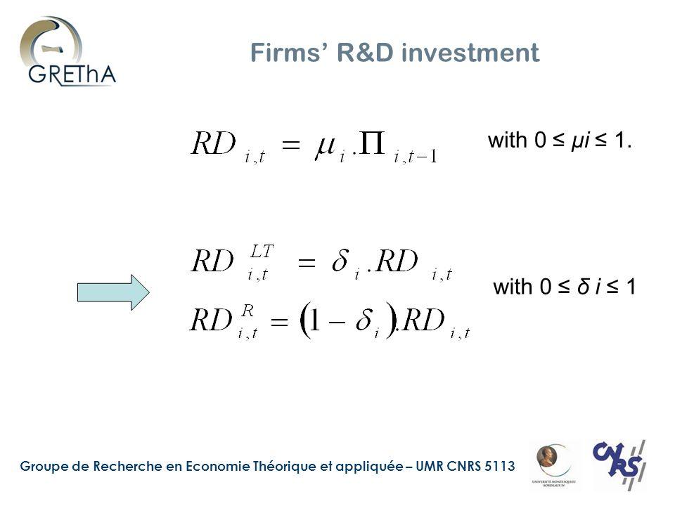 Groupe de Recherche en Economie Théorique et appliquée – UMR CNRS 5113 Firms R&D investment with 0 μi 1.