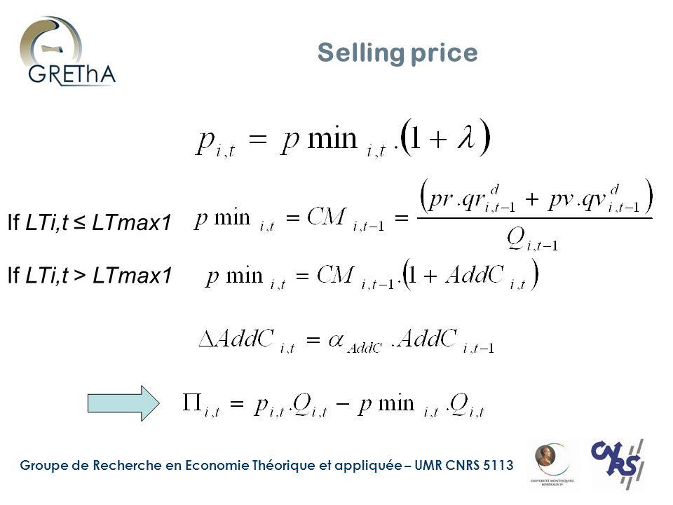 Groupe de Recherche en Economie Théorique et appliquée – UMR CNRS 5113 Selling price If LTi,t LTmax1 If LTi,t > LTmax1