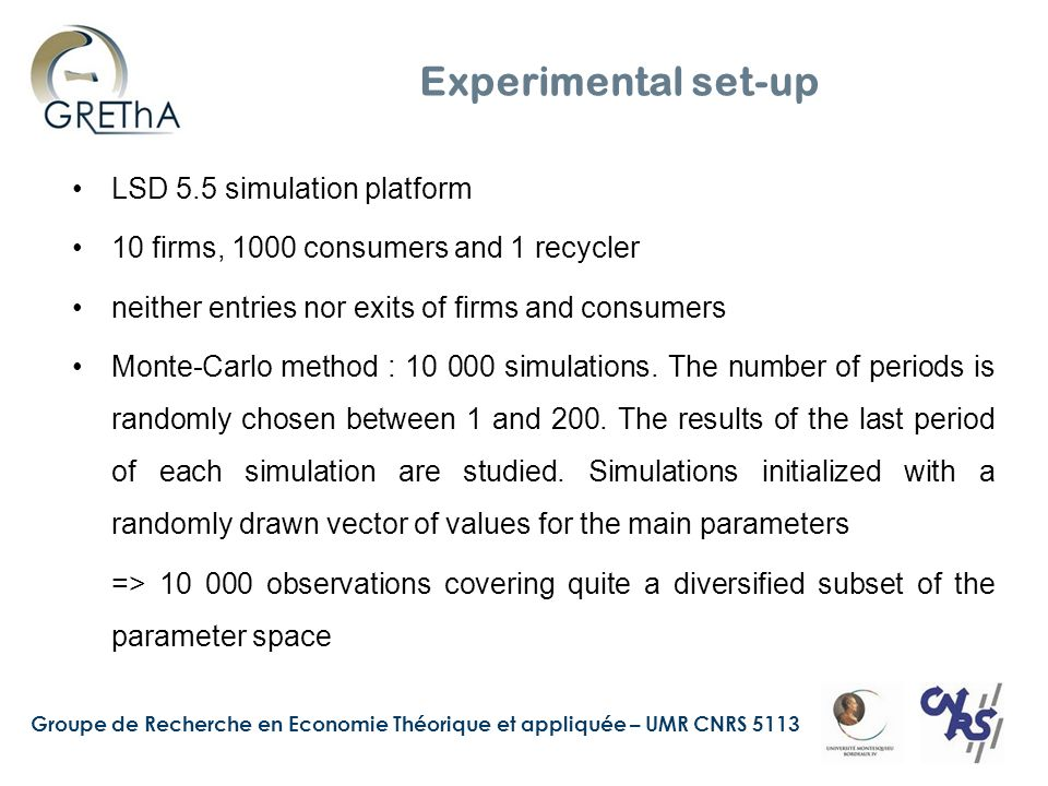 Groupe de Recherche en Economie Théorique et appliquée – UMR CNRS 5113 Experimental set-up LSD 5.5 simulation platform 10 firms, 1000 consumers and 1 recycler neither entries nor exits of firms and consumers Monte-Carlo method : 10 000 simulations.
