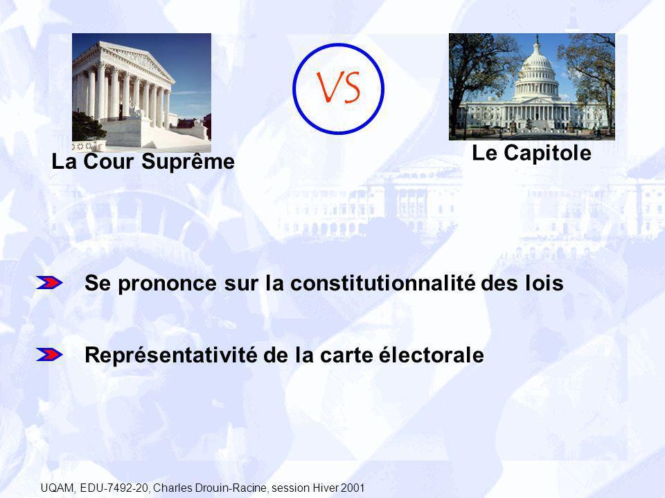 La Cour Suprême Le Capitole VS Se prononce sur la constitutionnalité des lois Représentativité de la carte électorale UQAM, EDU-7492-20, Charles Droui