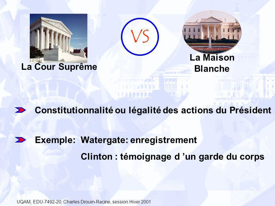 La Cour Suprême La Maison Blanche VS Constitutionnalité ou légalité des actions du Président Watergate: enregistrement Clinton : témoignage d un garde