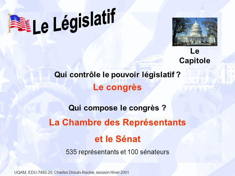 Qui contrôle le pouvoir législatif ? Le congrès Qui compose le congrès ? Le Capitole La Chambre des Représentants et le Sénat 535 représentants et 100