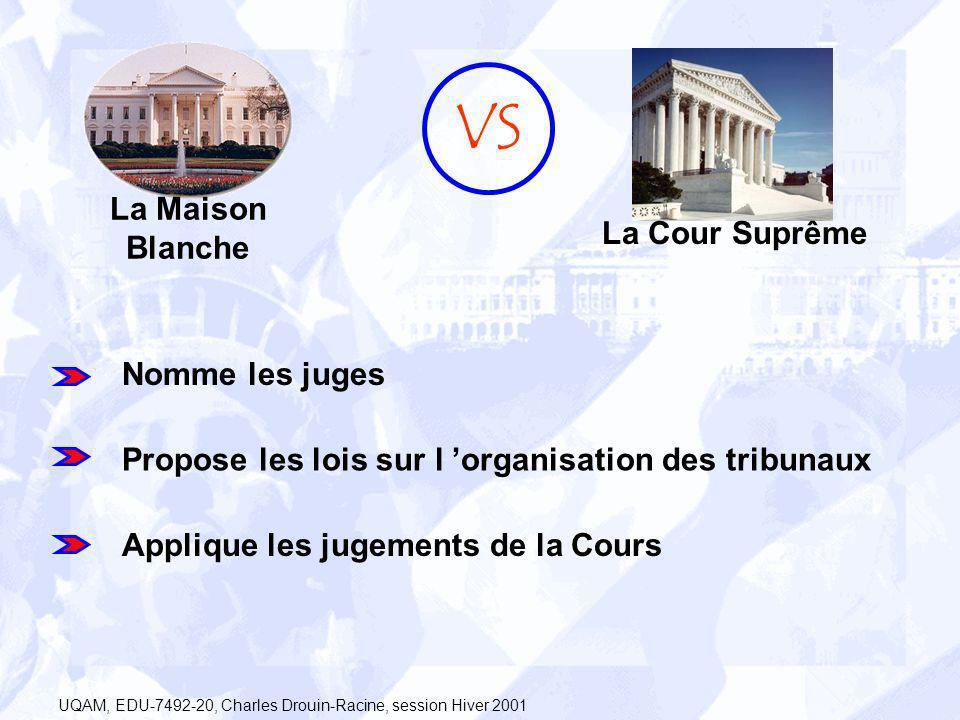 La Maison Blanche VS La Cour Suprême Nomme les juges Propose les lois sur l organisation des tribunaux Applique les jugements de la Cours UQAM, EDU-74