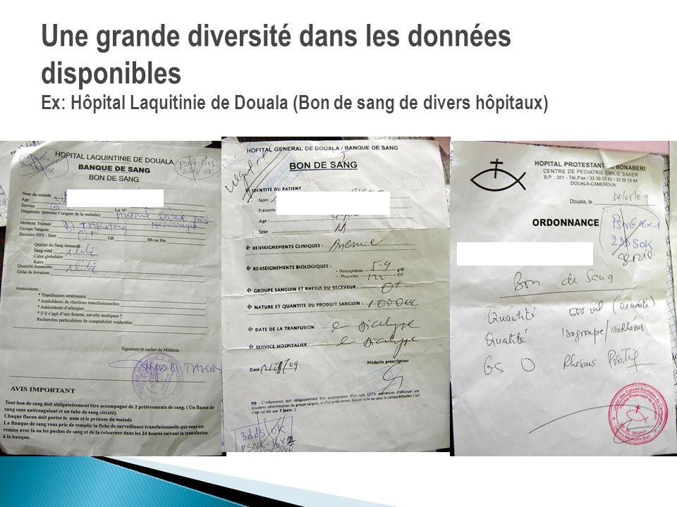 Une grande diversité dans les données disponibles Ex: Hôpital Laquitinie de Douala (Bon de sang de divers hôpitaux)