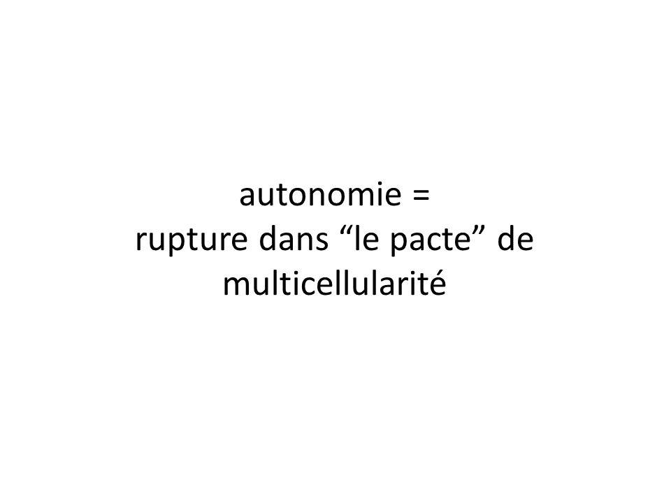 autonomie = rupture dans le pacte de multicellularité