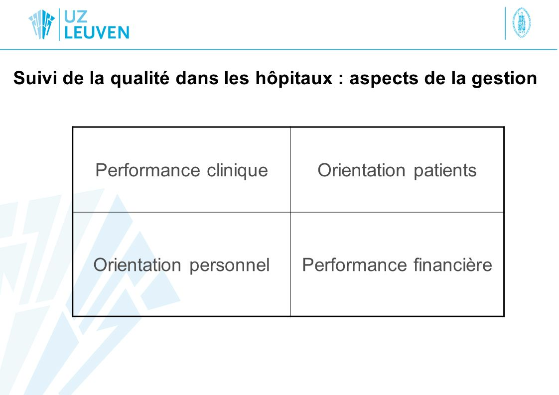 Rapportage et suivi dincidents An ongoing program of identifying and reducing unanticipated adverse events and safety risks to patients and staff is defined and implemented root cause analysis (RCA) obligatoire pour sentinel events –Décès inattendu pendant séjour hospitalier –Lésions fonctionnelles permanentes, survenues durant séjour hospitalier –wrong site procédure