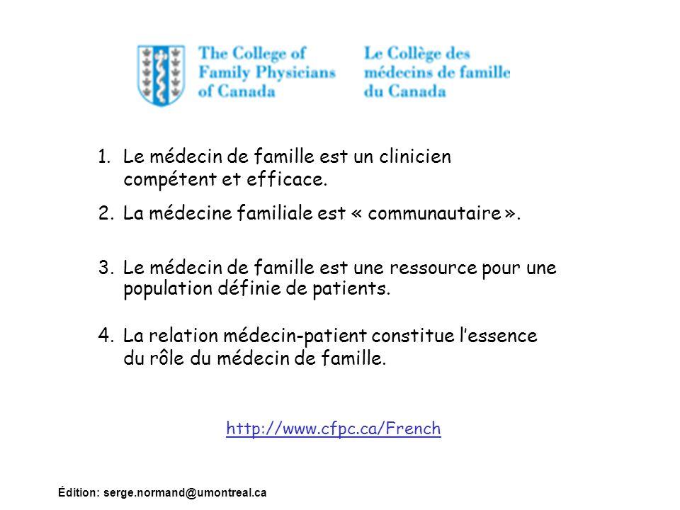 Édition: serge.normand@umontreal.ca 1.Le médecin de famille est un clinicien compétent et efficace. 2.La médecine familiale est « communautaire ». 3.L
