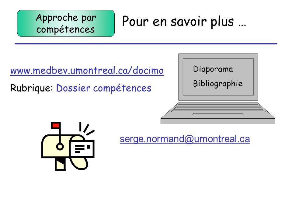 Pour en savoir plus … Diaporama Bibliographie www.medbev.umontreal.ca/docimo Rubrique: Dossier compétences serge.normand@umontreal.ca Approche par com