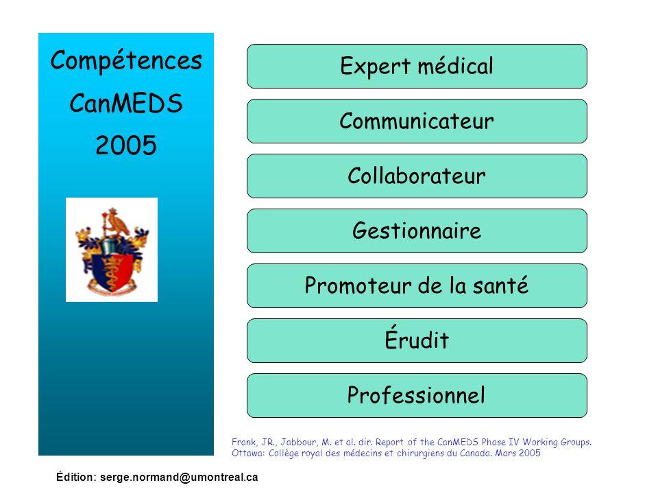 Édition: serge.normand@umontreal.ca Compétences CanMEDS 2005 Expert médical Communicateur Collaborateur Gestionnaire Promoteur de la santé Érudit Prof