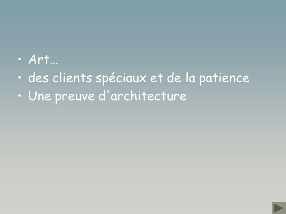 Art… des clients spéciaux et de la patience Une preuve d architecture