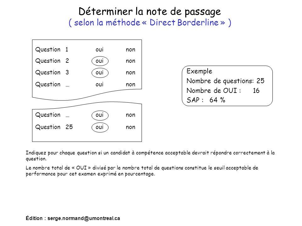 Édition : serge.normand@umontreal.ca Déterminer la note de passage ( selon la méthode « Direct Borderline » ) Indiquez pour chaque question si un cand