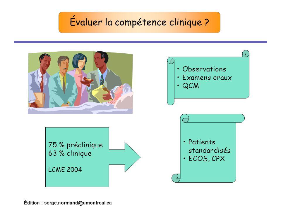 Édition : serge.normand@umontreal.ca Évaluer la compétence clinique Epstein, RM and EM Hundert, Defining and Assessing Professional Competence, JAMA, Vol 287, No 2, 2002