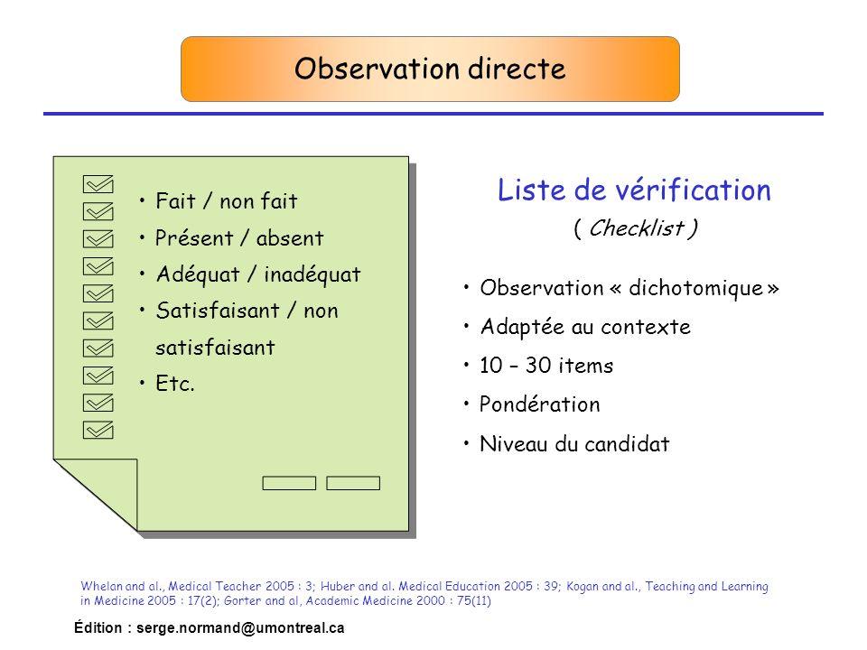 Édition : serge.normand@umontreal.ca Observation directe Whelan and al., Medical Teacher 2005 : 3; Huber and al. Medical Education 2005 : 39; Kogan an