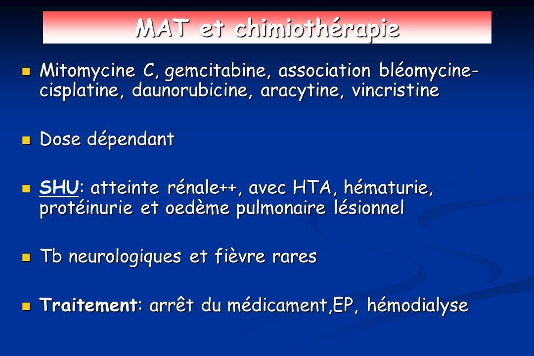 MAT et chimiothérapie Mitomycine C, gemcitabine, association bléomycine- cisplatine, daunorubicine, aracytine, vincristine Mitomycine C, gemcitabine,