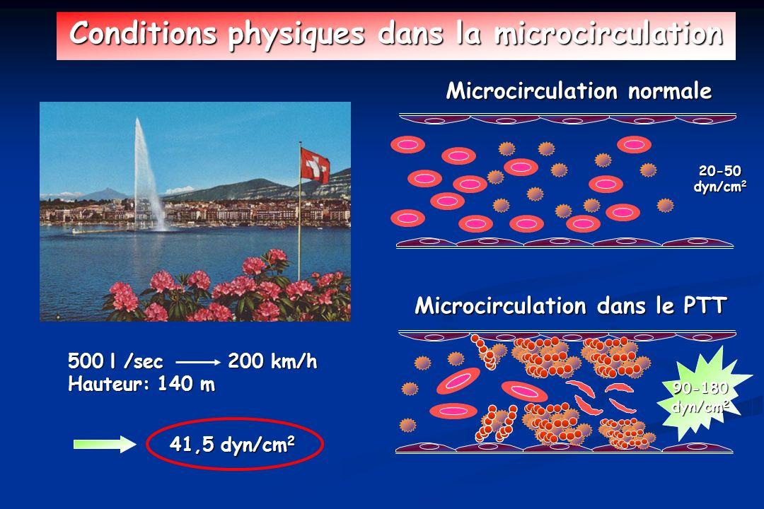 Microcirculation normale Conditions physiques dans la microcirculation Microcirculation dans le PTT 90-180 dyn/cm 2 20-50 500 l /sec 200 km/h Hauteur: