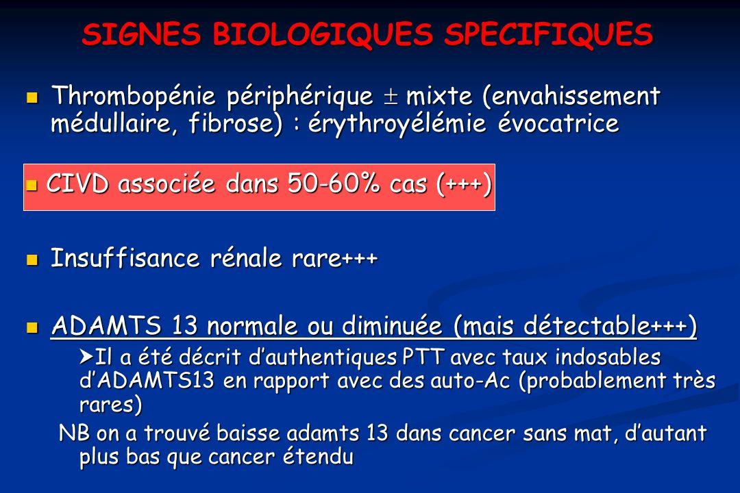 Thrombopénie périphérique mixte (envahissement médullaire, fibrose) : érythroyélémie évocatrice Thrombopénie périphérique mixte (envahissement médulla