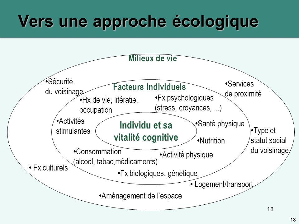 18 Vers une approche écologique Individu et sa vitalité cognitive Facteurs individuels Milieux de vie Activité physique Nutrition Fx biologiques, géné