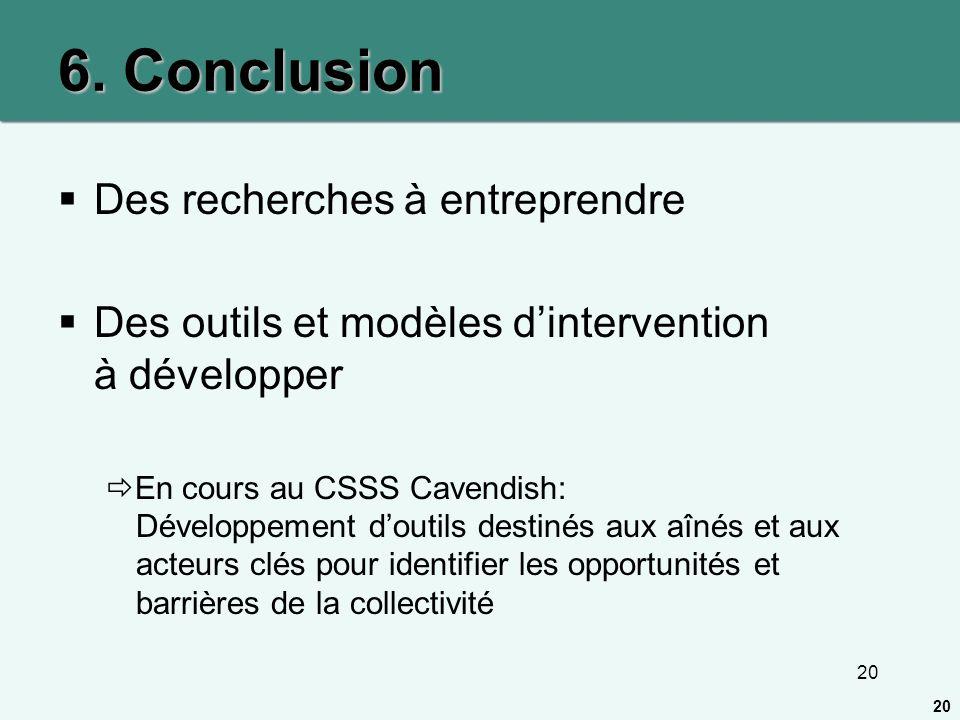 20 6. Conclusion Des recherches à entreprendre Des outils et modèles dintervention à développer En cours au CSSS Cavendish: Développement doutils dest