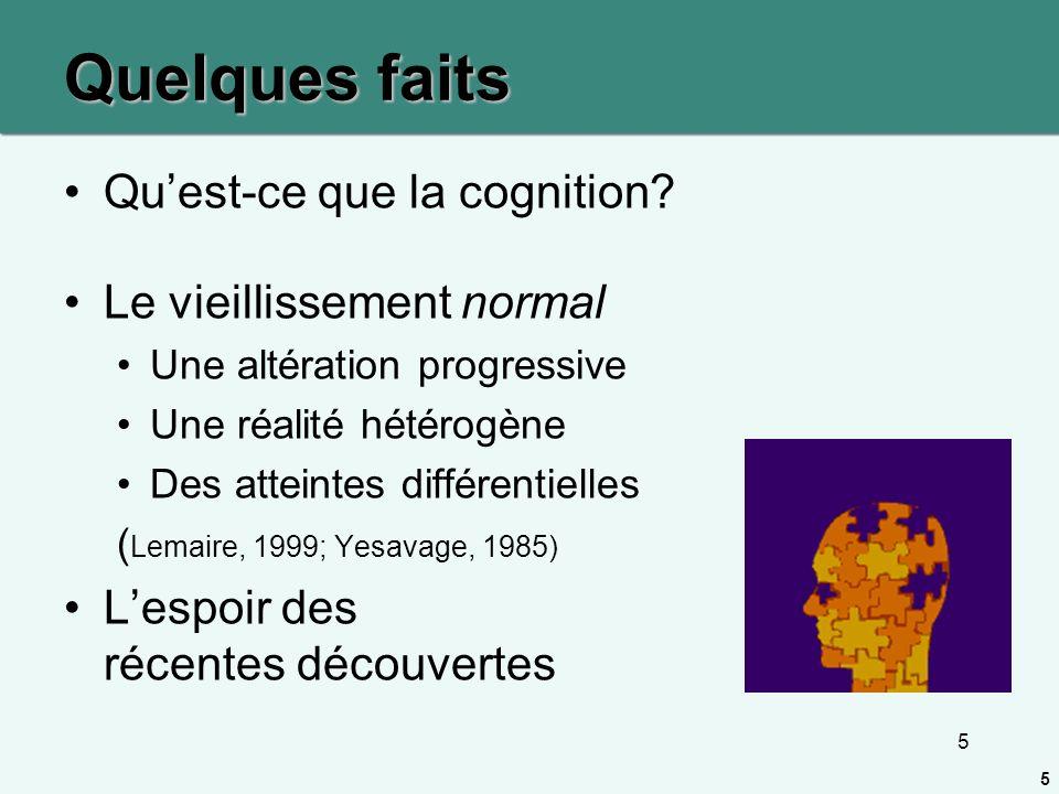 5 Quelques faits Quest-ce que la cognition? Le vieillissement normal Une altération progressive Une réalité hétérogène Des atteintes différentielles (