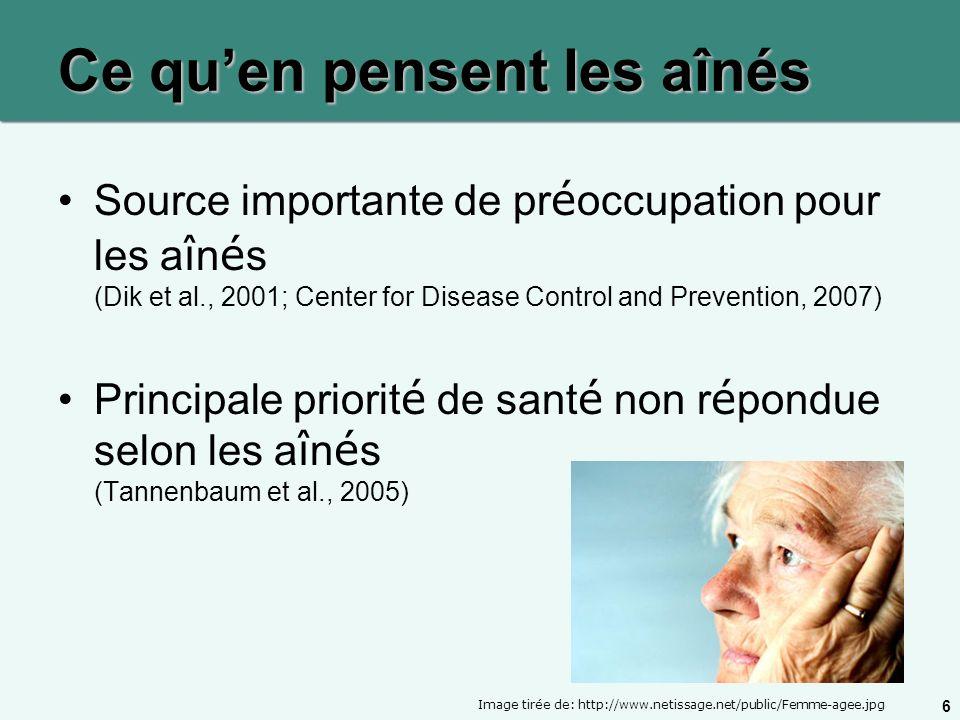 6 Ce quen pensent les aînés Source importante de pr é occupation pour les a î n é s (Dik et al., 2001; Center for Disease Control and Prevention, 2007