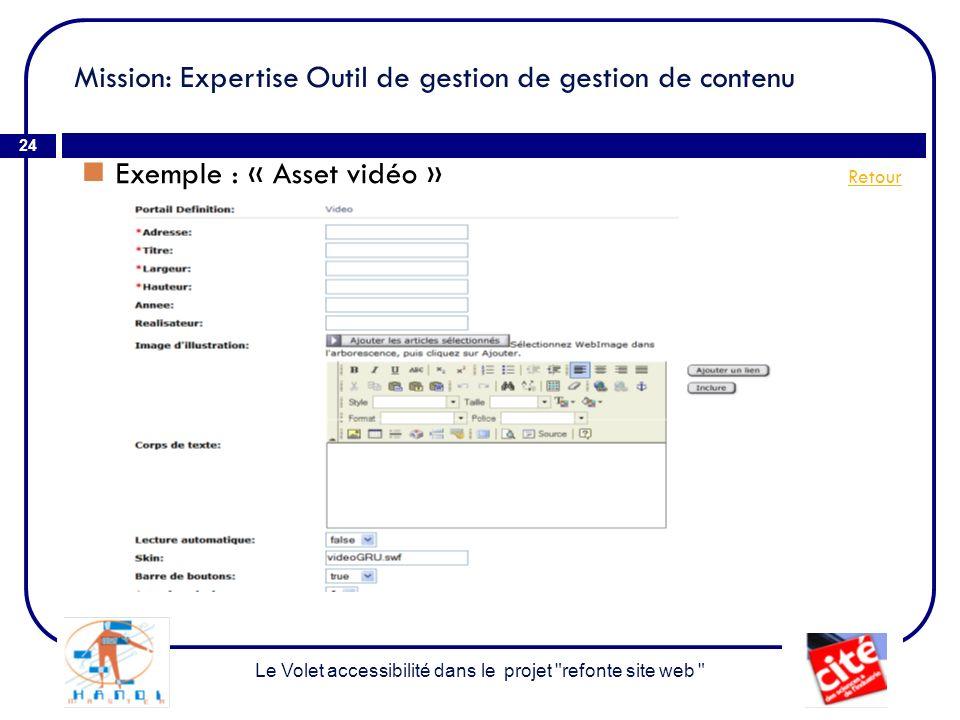 Mission: Expertise Outil de gestion de gestion de contenu 24 Exemple : « Asset vidéo » Retour Retour Le Volet accessibilité dans le projet refonte site web