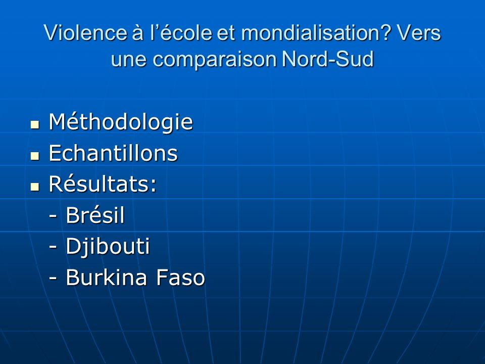 Violence à lécole et mondialisation? Vers une comparaison Nord-Sud Méthodologie Méthodologie Echantillons Echantillons Résultats: Résultats: - Brésil