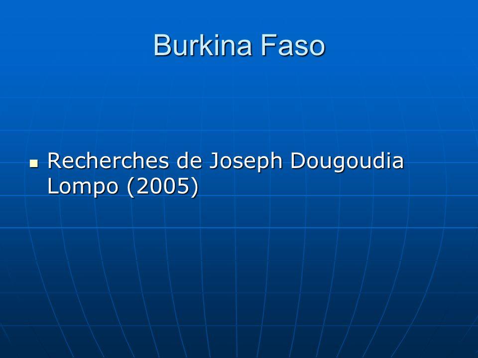 Burkina Faso Recherches de Joseph Dougoudia Lompo (2005) Recherches de Joseph Dougoudia Lompo (2005)
