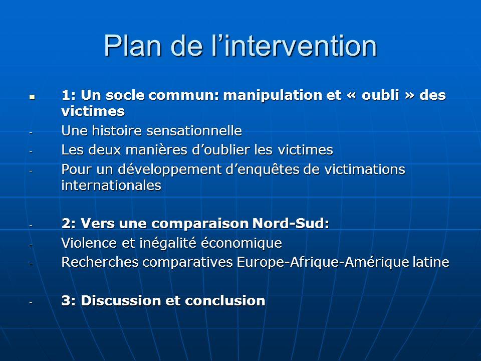 Plan de lintervention 1: Un socle commun: manipulation et « oubli » des victimes 1: Un socle commun: manipulation et « oubli » des victimes - Une hist