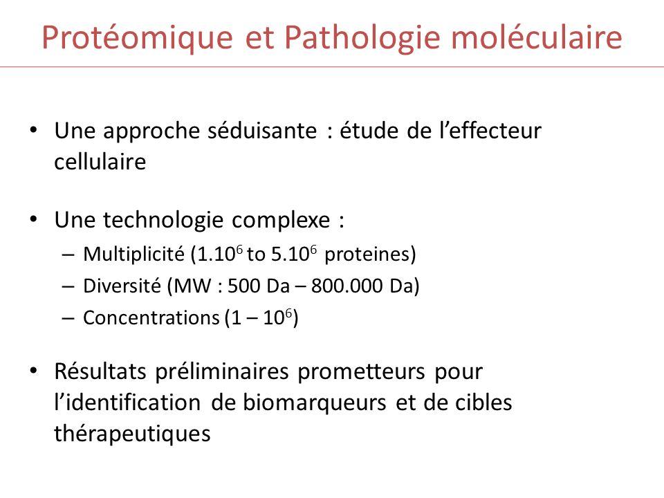Protéomique et Pathologie moléculaire Une approche séduisante : étude de leffecteur cellulaire Une technologie complexe : – Multiplicité (1.10 6 to 5.