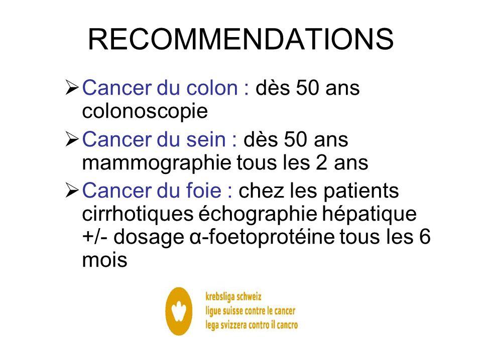 RECOMMENDATIONS Cancer du colon : dès 50 ans colonoscopie Cancer du sein : dès 50 ans mammographie tous les 2 ans Cancer du foie : chez les patients c