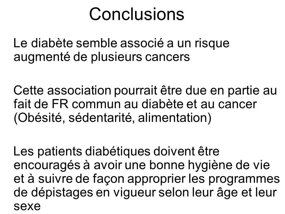 Conclusions Le diabète semble associé a un risque augmenté de plusieurs cancers Cette association pourrait être due en partie au fait de FR commun au