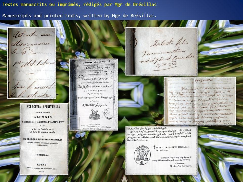 Textes manuscrits ou imprimés, rédigés par Mgr de Brésillac Manuscripts and printed texts, written by Mgr de Brésillac.