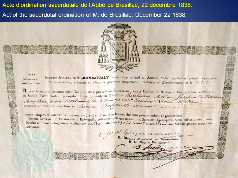 Acte dordination sacerdotale de lAbbé de Brésillac, 22 décembre 1838.