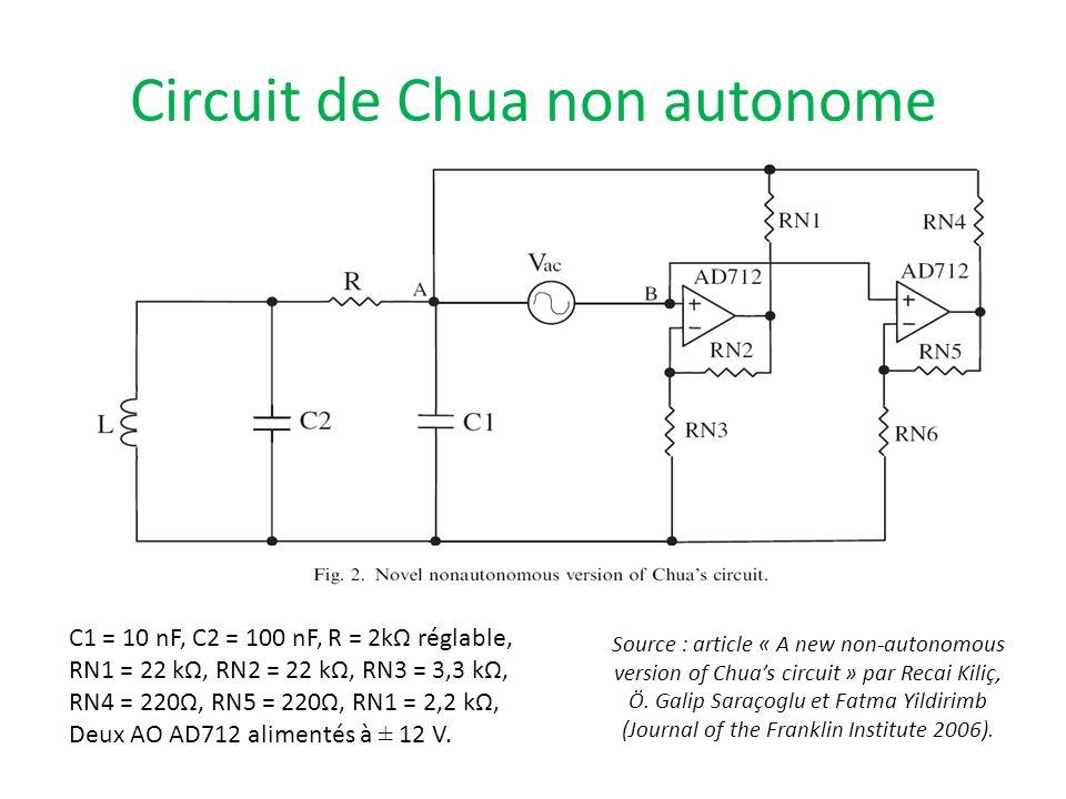 Circuit de Chua non autonome C1 = 10 nF, C2 = 100 nF, R = 2kΩ réglable, RN1 = 22 kΩ, RN2 = 22 kΩ, RN3 = 3,3 kΩ, RN4 = 220Ω, RN5 = 220Ω, RN1 = 2,2 kΩ,