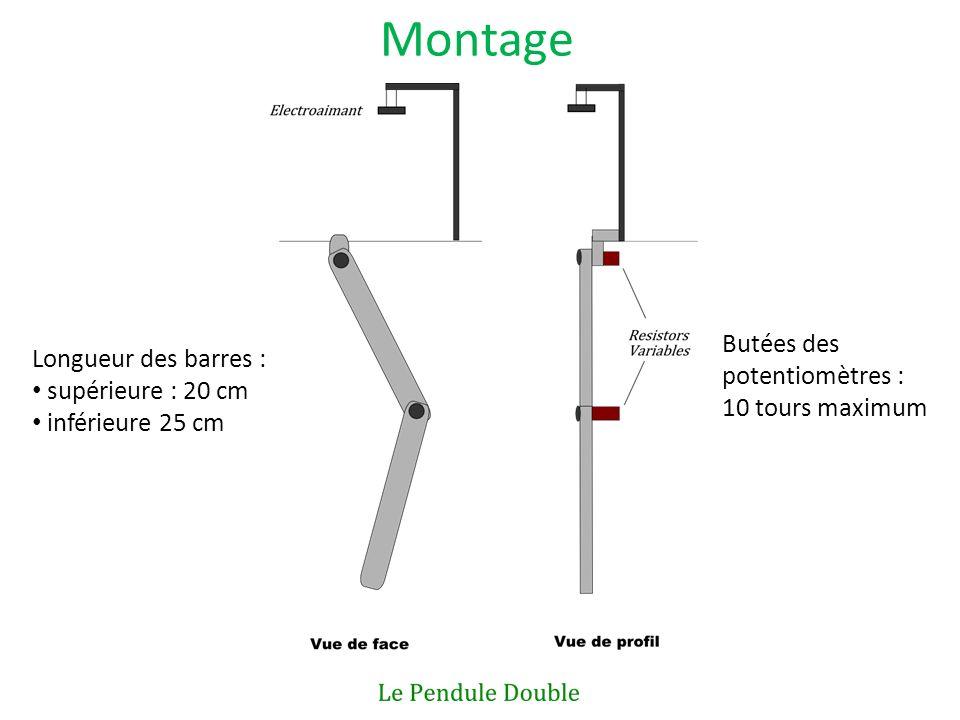 Montage Longueur des barres : supérieure : 20 cm inférieure 25 cm Butées des potentiomètres : 10 tours maximum