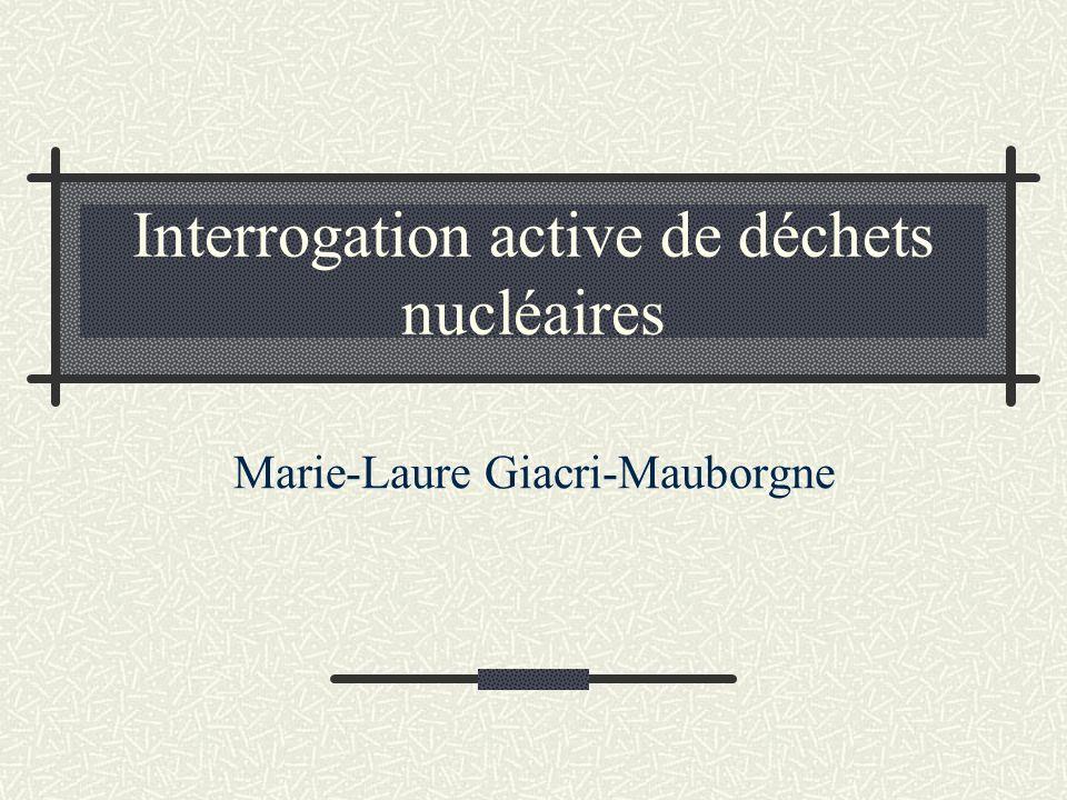 Interrogation active de déchets nucléaires Marie-Laure Giacri-Mauborgne