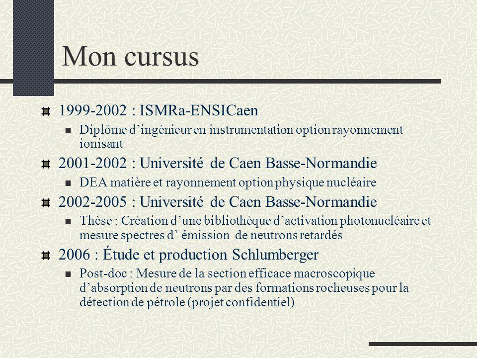 Mon cursus 1999-2002 : ISMRa-ENSICaen Diplôme dingénieur en instrumentation option rayonnement ionisant 2001-2002 : Université de Caen Basse-Normandie