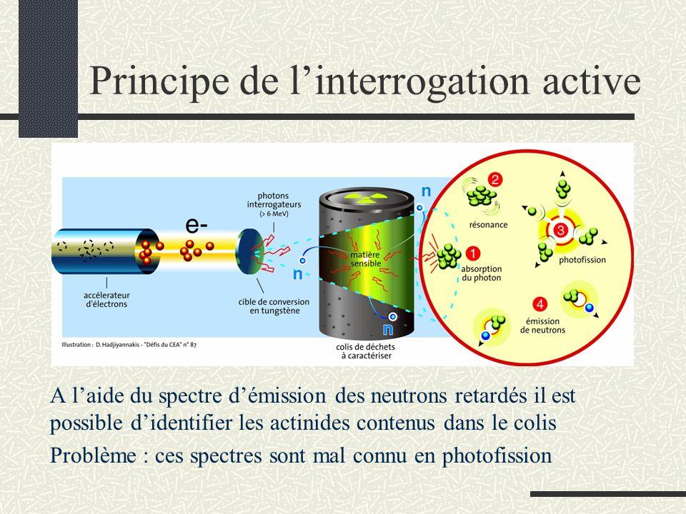Principe de linterrogation active A laide du spectre démission des neutrons retardés il est possible didentifier les actinides contenus dans le colis