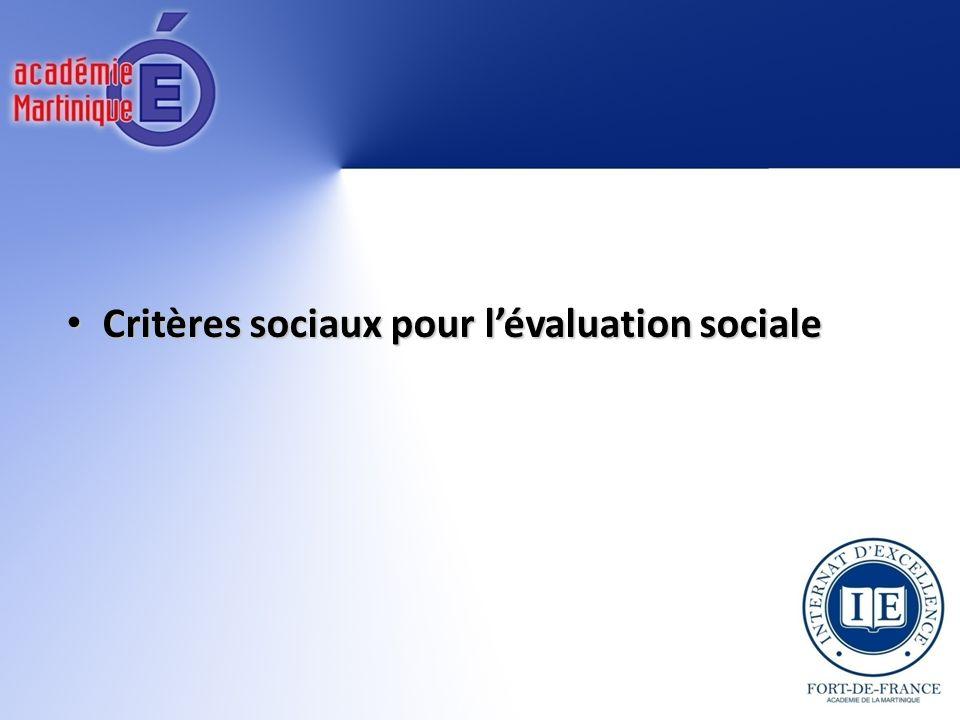 Critères sociaux pour lévaluation sociale Critères sociaux pour lévaluation sociale