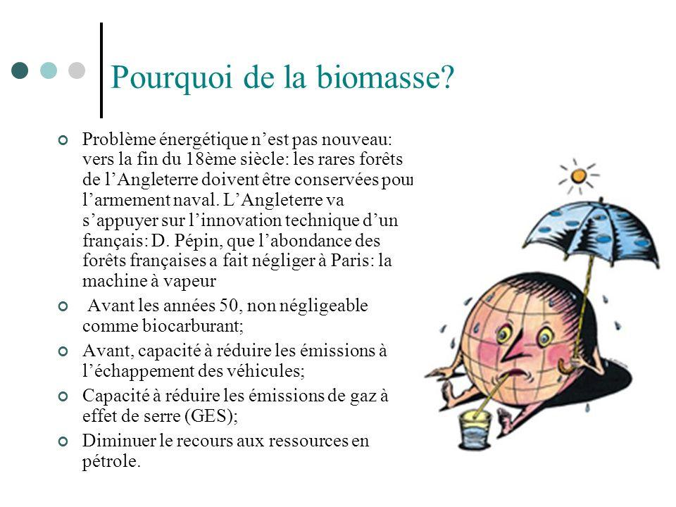 Pourquoi de la biomasse? Problème énergétique nest pas nouveau: vers la fin du 18ème siècle: les rares forêts de lAngleterre doivent être conservées p