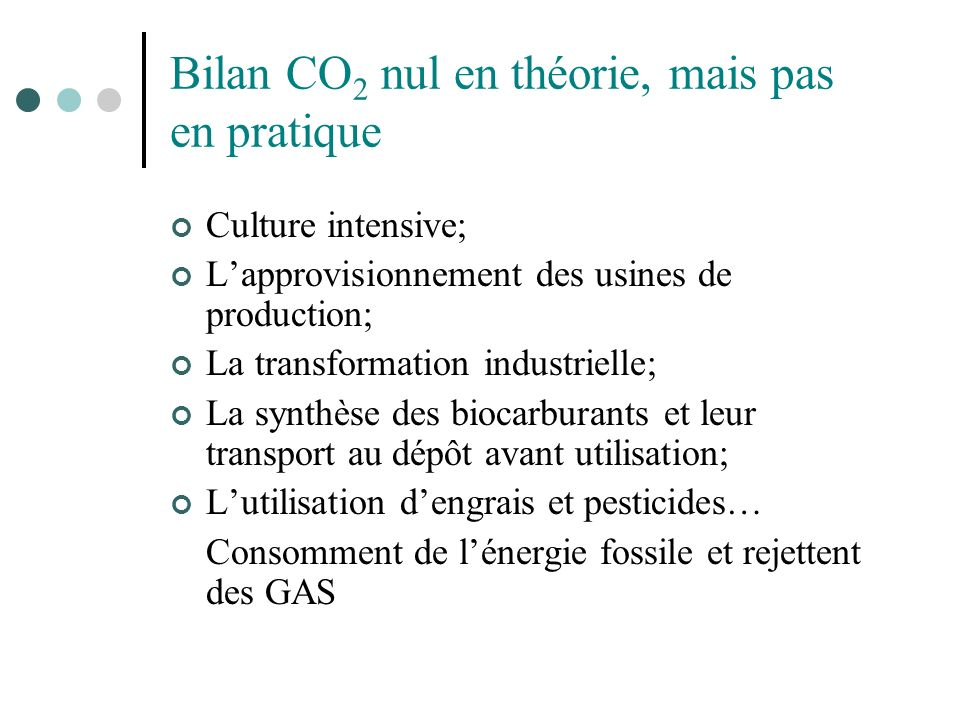 Bilan CO 2 nul en théorie, mais pas en pratique Culture intensive; Lapprovisionnement des usines de production; La transformation industrielle; La syn